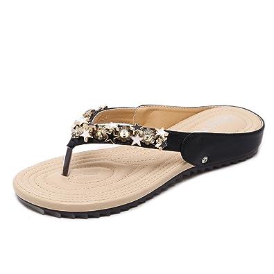 Damen Sommer Sandalen Toe Clip Flach Flip Flops Strass, Schwarz, 37