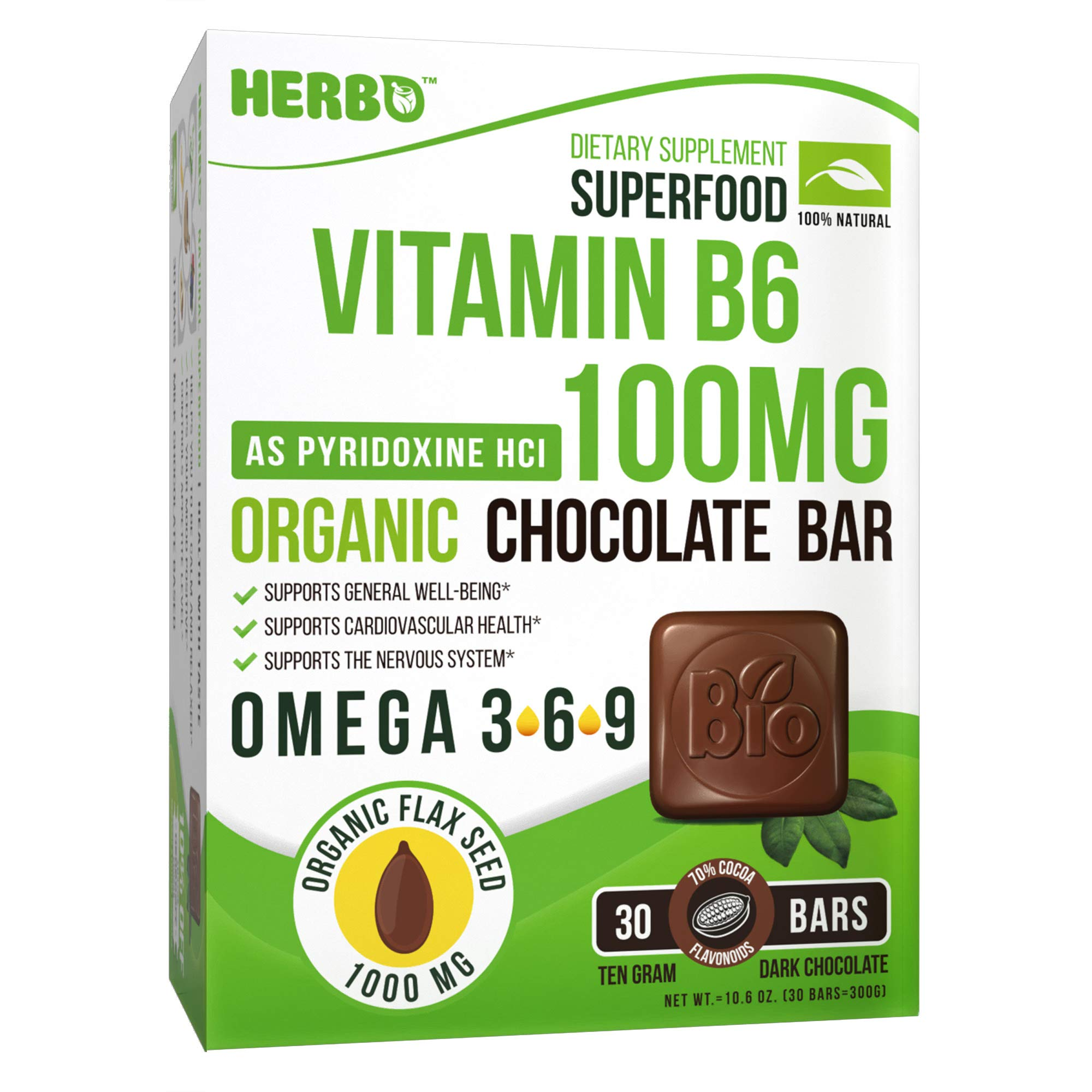 Herbo Superfood Vitamin B6 100 mg As Pyridoxine - Supplement in Organic Dark Chocolate - Best for Depression, Concentration, Immunity and Heart Health - with Omega 3 6 9 - Non-GMO, Gluten Free by HERBO SUPERFOOD
