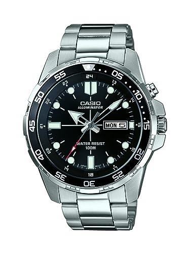 Casio MTD-1079D-1AVEF - Reloj de Pulsera Hombre, Acero Inoxidable, Color Plata: Amazon.es: Relojes