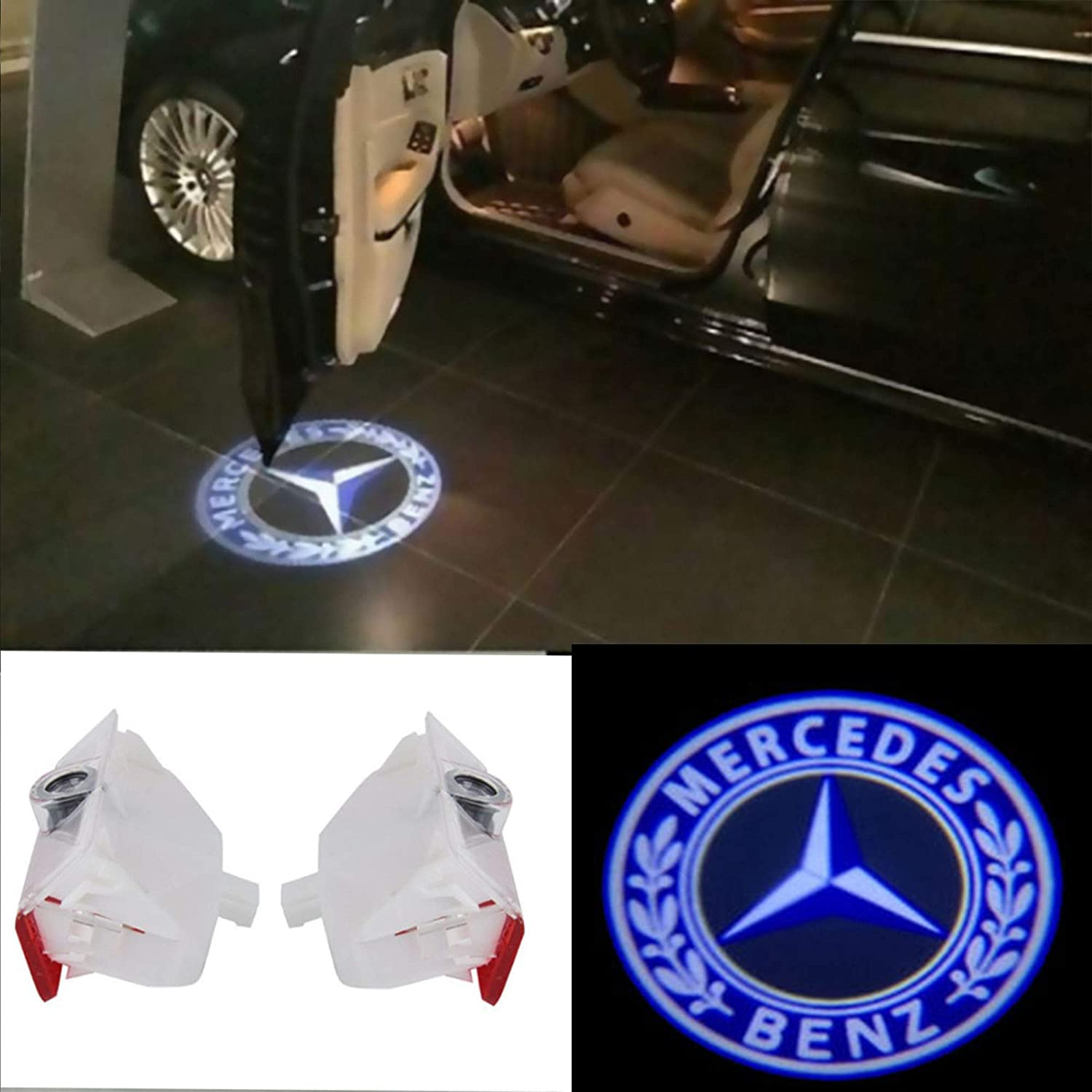 CNAutoLicht 2X Cree LED Door Step Courtesy Light Welcome Light Laser Shadow Logo Projector Lamp For Mercedes Benz X204 GLK200 GLK300 GLK350 08-16 W168 A150 A190 A200 97-04 W245 B150 B160 B200 05-11 BL