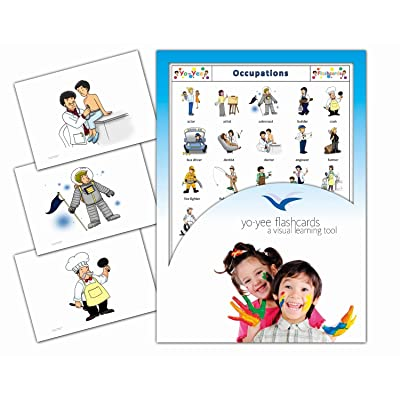 Yo-Yee Flashcards - Occupations and Jobs Flash Cards - English Vocabulary Picture Cards for Toddlers, Kids, Children and Adults: Toys & Games