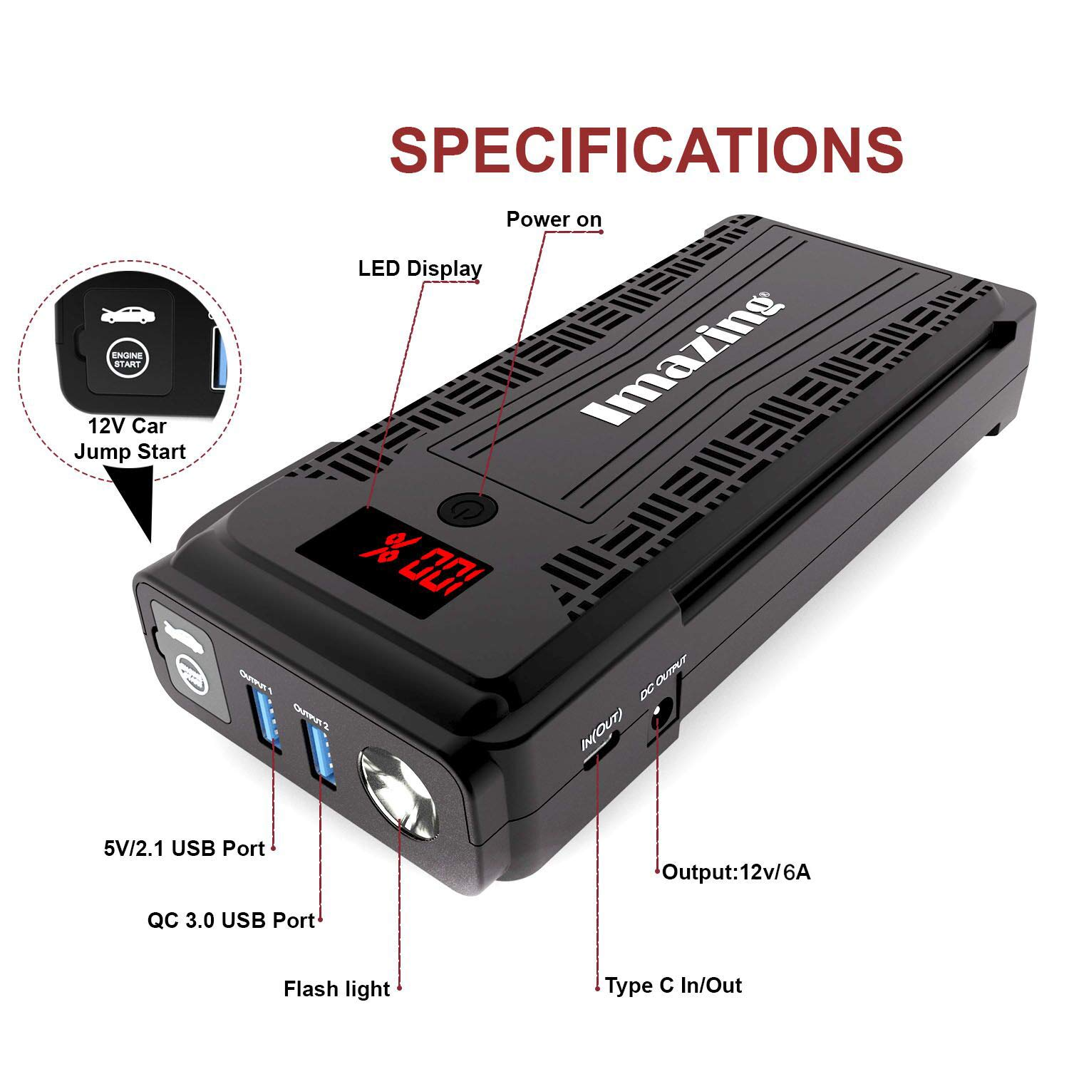 Imazing Portable Car Jump Starter - 2500A Peak 20000mAH (Up to 8L Gas or 8L Diesel Engine) 12V Auto Battery Booster Portable Power Pack with LCD Display Jumper Cables, QC 3.0 and LED Light by Imazing (Image #2)
