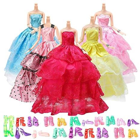 Yomon 5 Abiti Vestiti Alla Moda 20 Paia di Scarpe per Barbie Accessori  Regali per bambino 13a7824e104