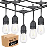 Lightdot LED 24ft Outdoor String Lights, Waterproof Cafe Patio Lights with 2W Dimmable Edison Plastic Bulbs(10+1spare), Warm
