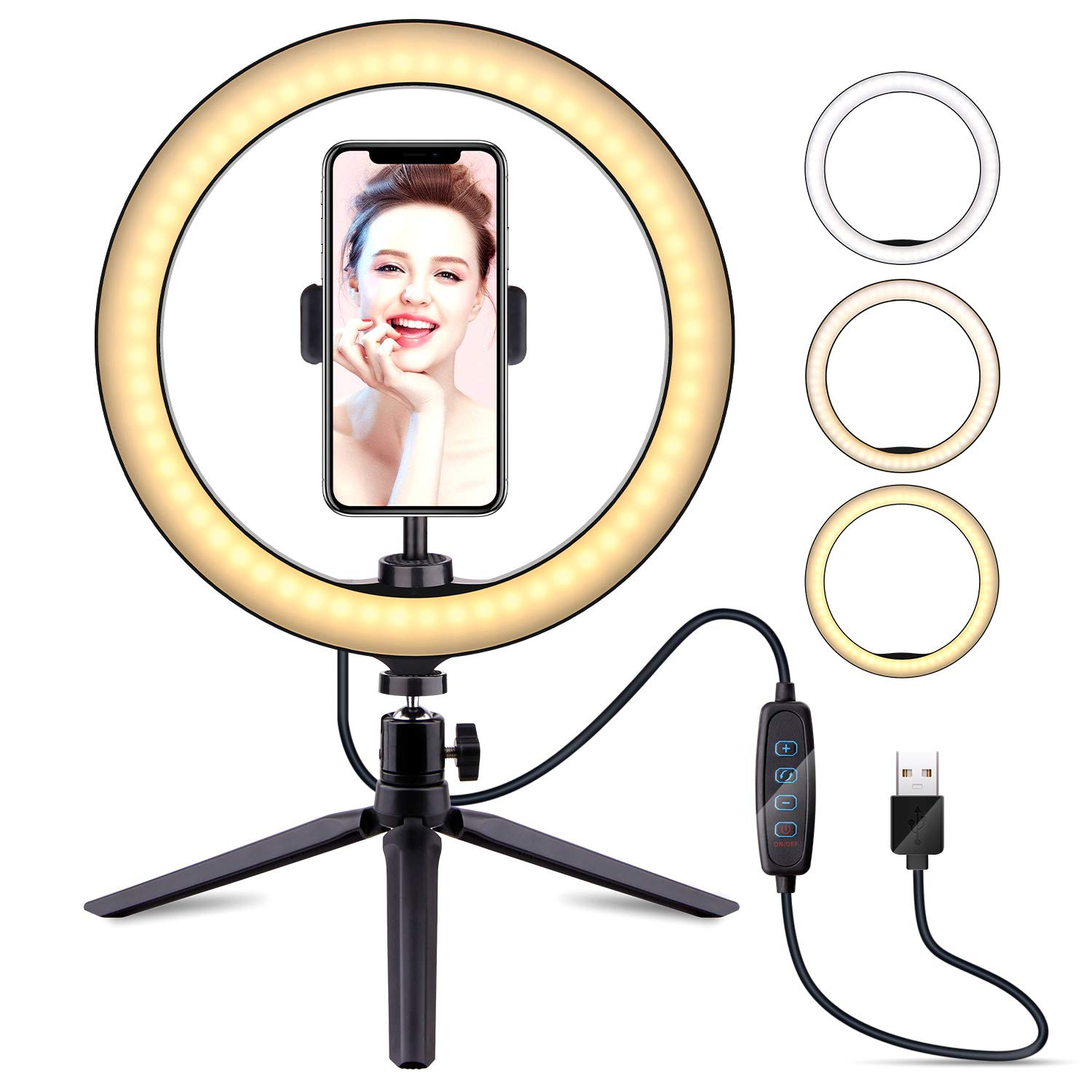 10'' Selfie Ring Light with Tripod Stand & Cell Phone Holder, LATZZ Dimmable Desktop LED Lamp Camera Ringlight for Live Stream/Makeup/YouTube Video/Photography by LATZ·Z