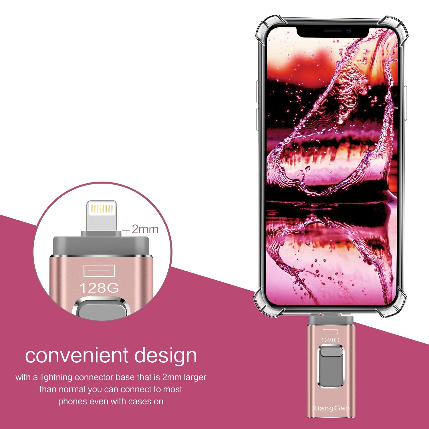 iOS Flash Drive for iPhone Photo Stick 128GB Memory Stick XiangGao USB 3.0 Flash Drive Lightning Memory Stick for iPhone iPad Android and Computers (Pink-128GB) by XG Inc (Image #4)