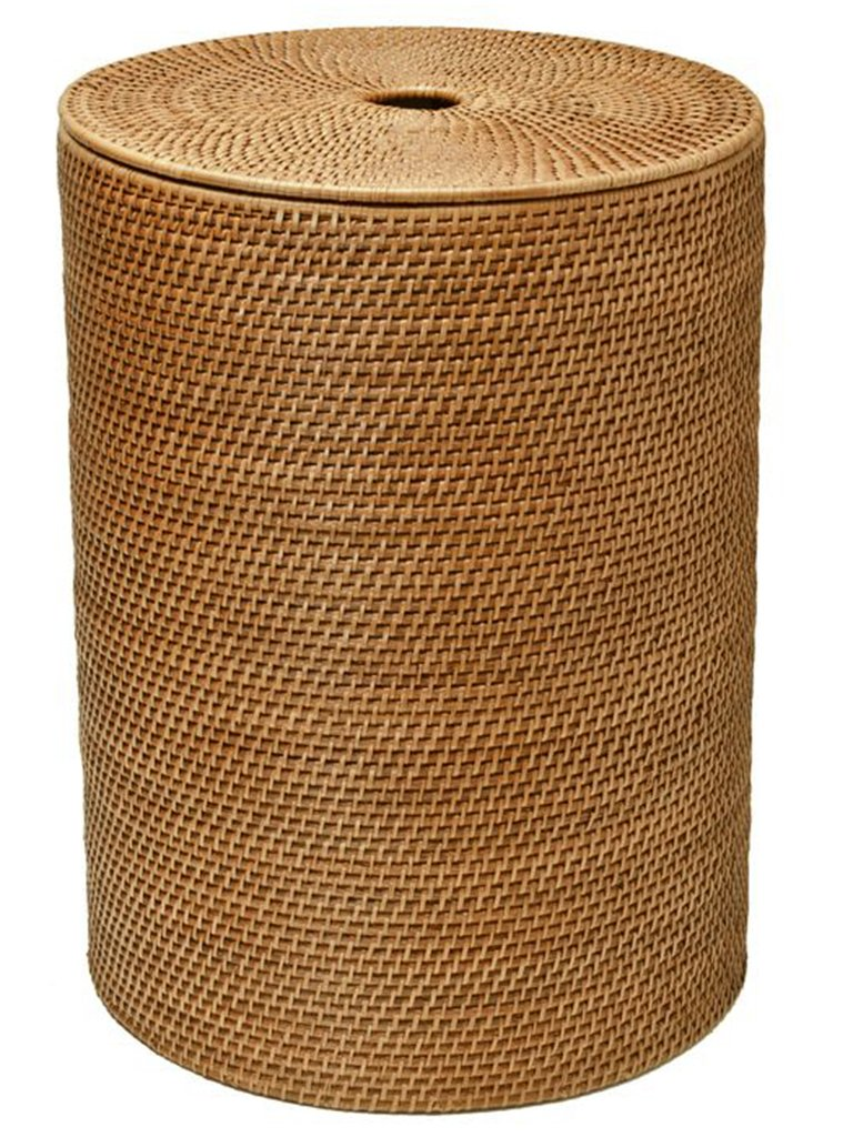 "KOUBOO 1030001 Rattan Hamper with Cotton Liner, 18"" x 18"" x 22"", Honey Brown"