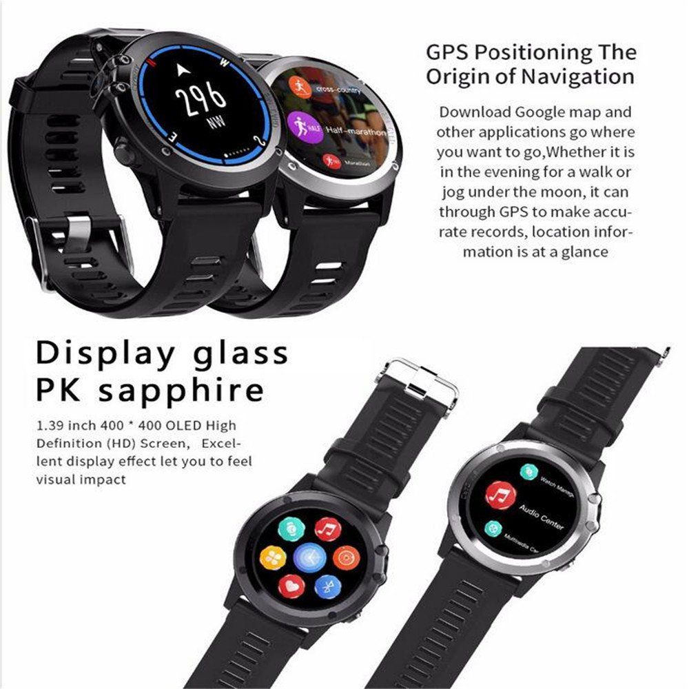 Amazon.com: H1 Smart Watch Android 5.1 OS Smartwatch MTK6572 512MB RAM 4GB ROM GPS SIM 3G Heart Rate Monitor 5.0 M HD Camera IP68 Waterproof 30M Diving ...