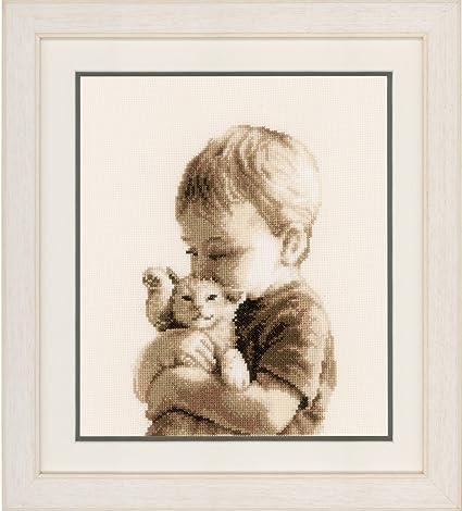 Canovacci Ricamati A Punto Croce.Vervaco Kit Da Ricamo A Punto Croce Con Schema Numerato Canovaccio Non Prestampato Motivo Bambino Con Gatto