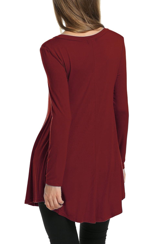 HOTOUCH Mujer Camiseta Casual de Manga Larga del Escote V de La T/única Camisas Blusas Largas del Dobladillo Irregular