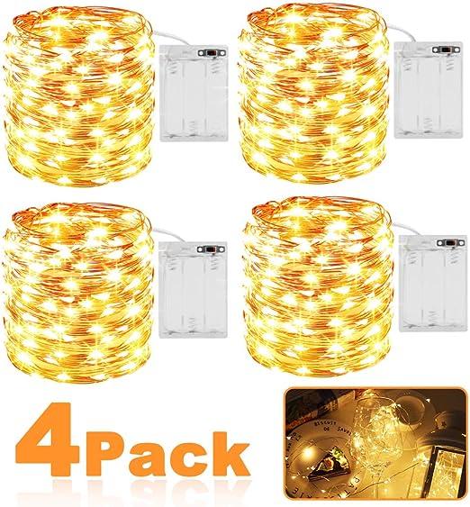Guirnalda Luces Pilas, Luces LED Pilas 4 Pack, Cadena de Luces Impermeable IP65 3m 30 LED