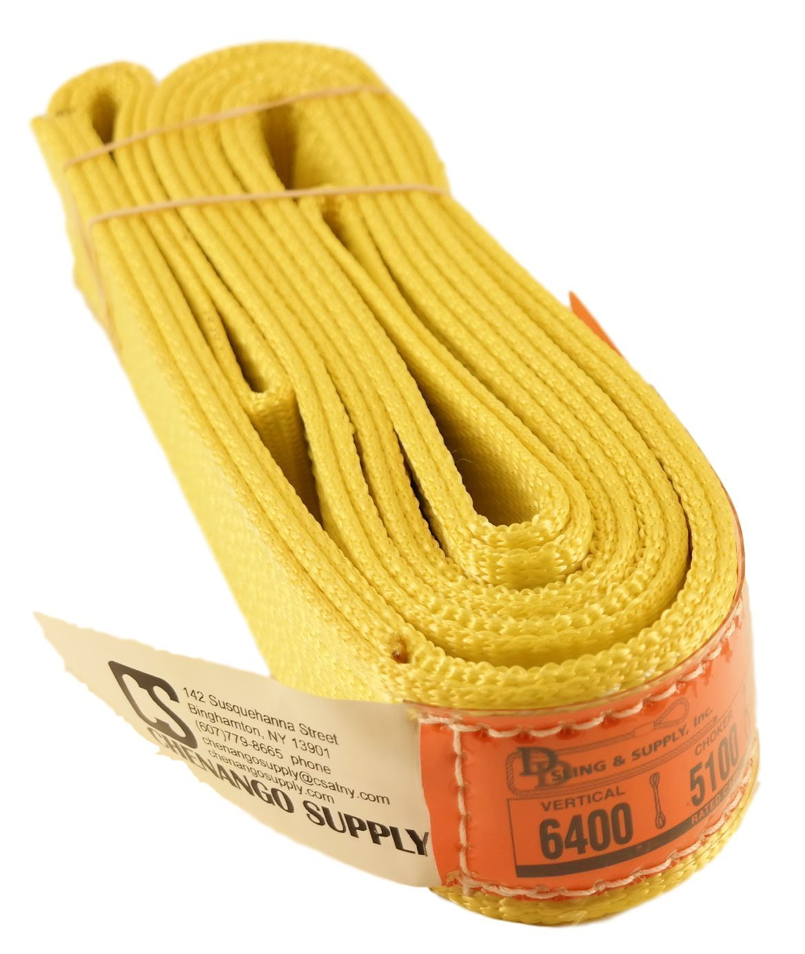DD Sling. Multiple Sizes in Listing! (Made in USA) 2'' x 8', 2 Ply, Nylon Lifting Slings, Eye & Eye, Heavy Duty (900 webbing), 6,400 lbs Vertical, 5,100 Choker, 12,800 Basket Load Capacity (USA Made Nylon Webbing) (2''x8')