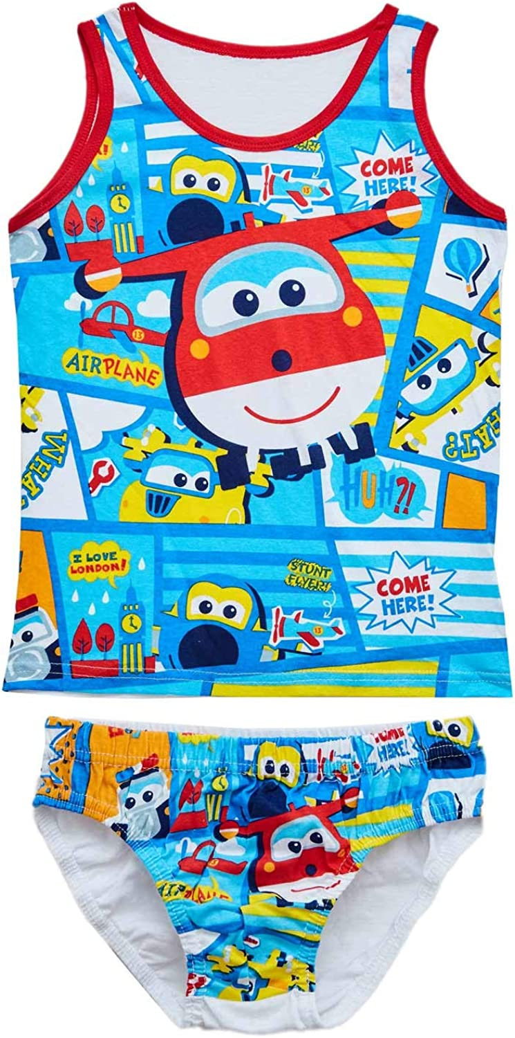 100/% Cotton Underwear Set consisting of Shirt and Panties in red Super Wings Donnie for Boys Blue and White Jett and Jerome 6pcs