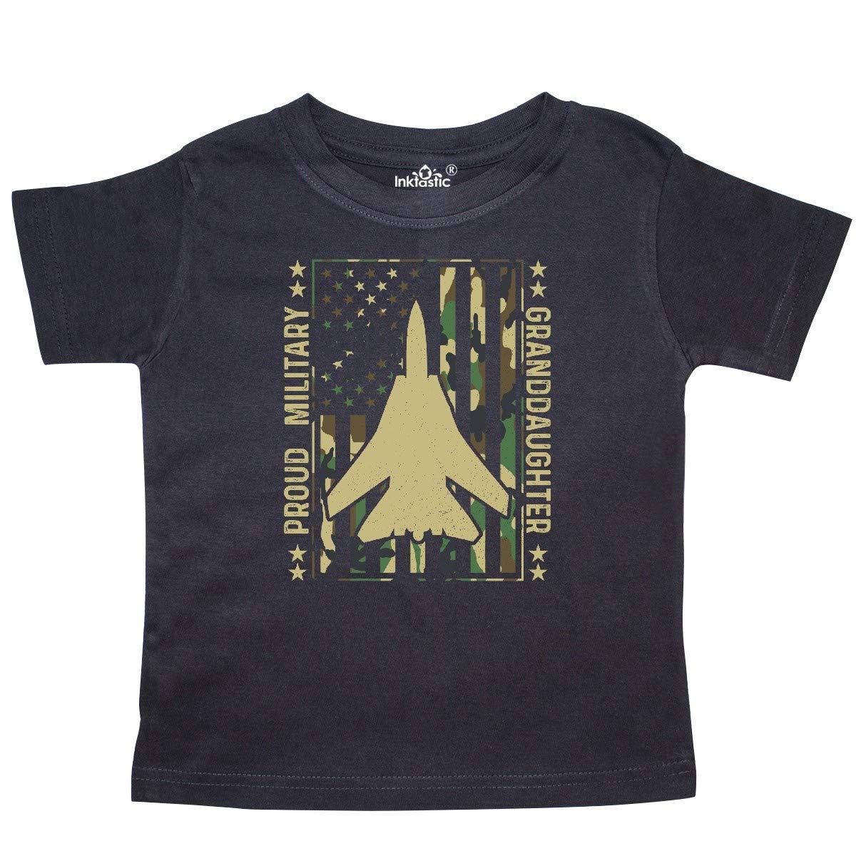 inktastic Proud Military Granddaughter USA Flag Airplane Toddler T-Shirt
