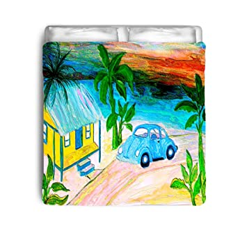 amazon com blue vw beach house comforter from art twin 68x90 rh amazon com Drawing VW Beach vw beach seat consoles