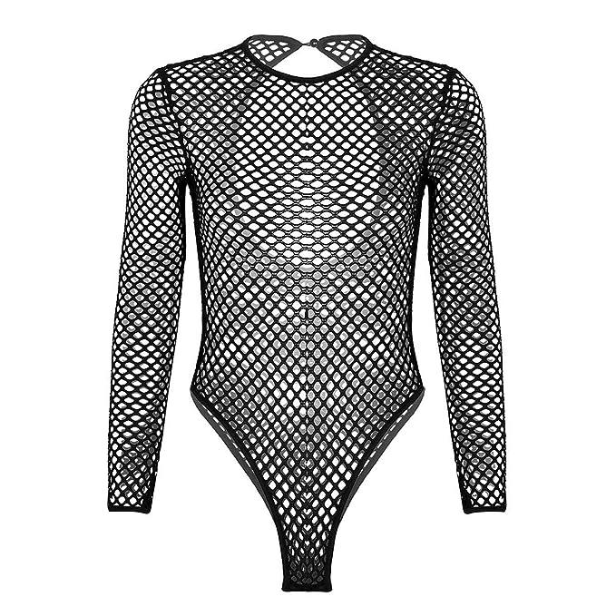18de3f2454 Women Sexy Fishnet Sheer Bodysuit Tops Long Sleeve Leotard Blouse Jumpsuit   Amazon.co.uk  Clothing