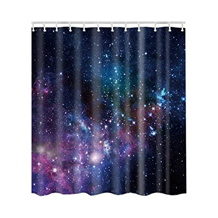 Artown Starry Night Shower Curtain Mystic Wonderland Dark Blue Universe Ocean Magical Shining Sky