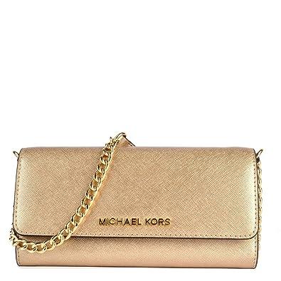 f78018a5e90b MICHAEL Michael Kors Jet Set Travel Pale Gold Leather Chain Wallet one size Pale  Gold