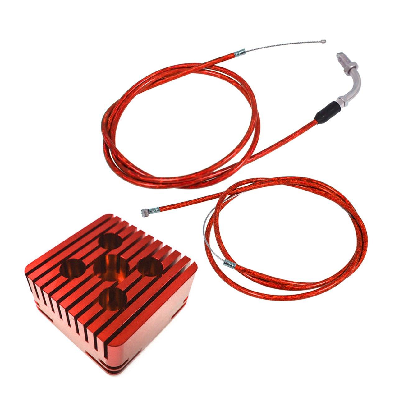 Northtiger Red CNC Square Cylinder Head & Throttle Line Fit 80cc Engine Motorized Bike