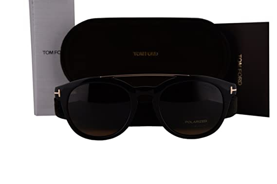3aa424bbcc2 Tom Ford FT0515 Newman Sunglasses Black Gold w Polarized Brown Lens 05H  TF515  Amazon.co.uk  Clothing