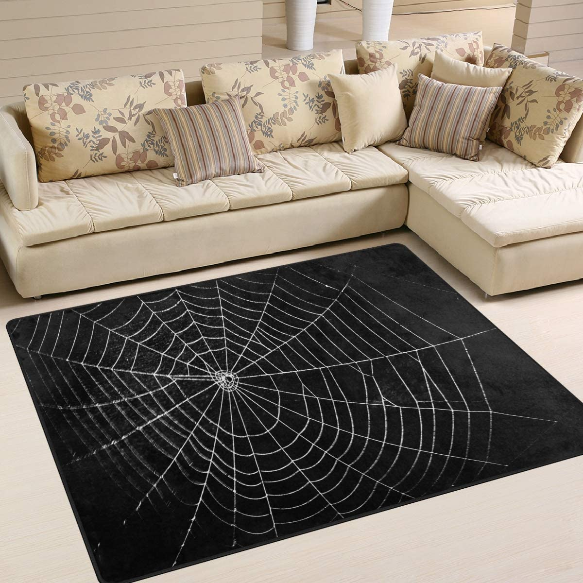 ALAZA Spider Web Halloween Black Area Rug Rugs for Living Room Bedroom 5 3 x4
