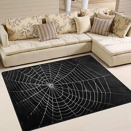 ALAZA Spider Web Halloween Black Area Rug Rug