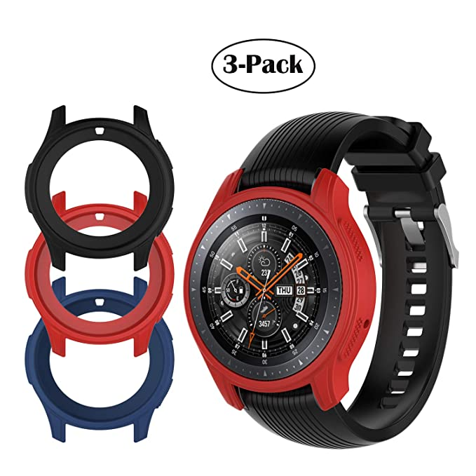 Compatible Samsung Galaxy Watch (46mm) /Gear S3 Frontier Case, [3-Pack] TPU Shock-Proof Protective Bumper Sleeve Protector Case Cover for Galaxy Watch ...