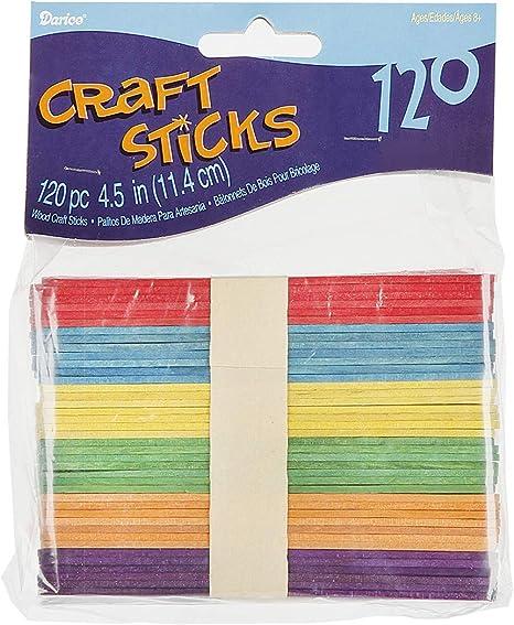 colores variados tama/ño 20x0,5cm especial para manualidades Pack de 120 palitos de madera redondos 131658
