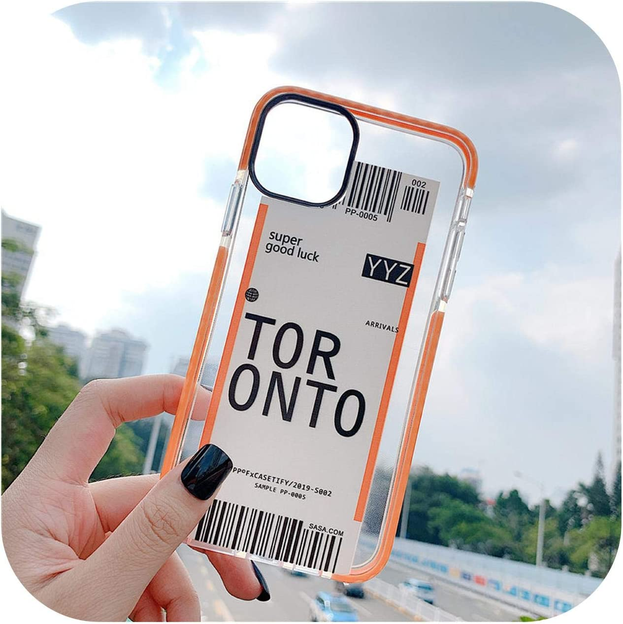 Funda antigolpes para iPhone 11, 11Pro, XS, Max, XR, 7, 8 Plus, código de barra, tarjeta de embarque, a prueba de golpes, funda, silicona, Toronto, For iPhone 11ProMax