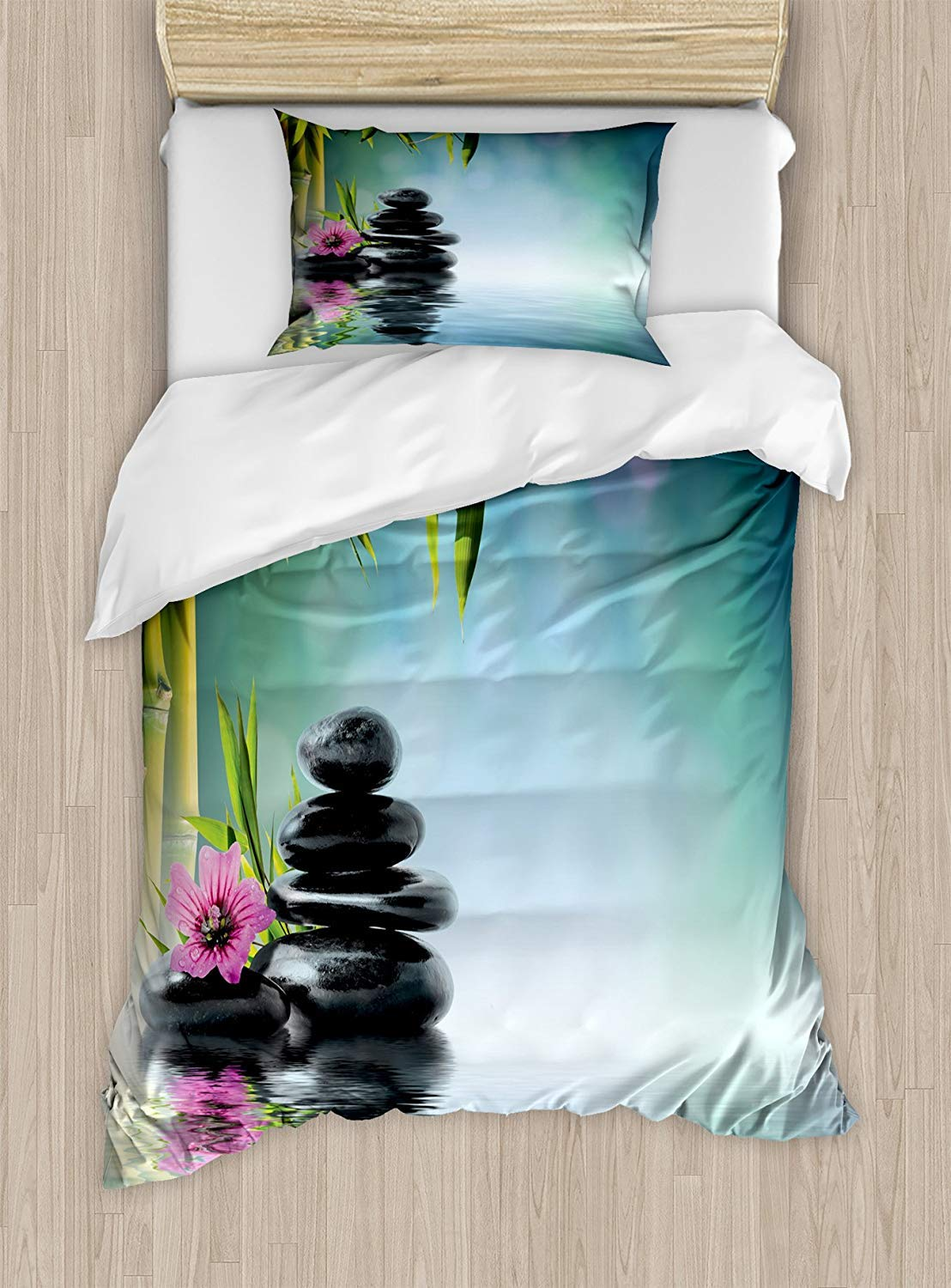 MAIANNE Zen Garden Twin Size Duvet Cover Set, Pink Flower Spa Stones and Bamboo Tree on The Water Relaxation Theraphy Peace, Decorative 4 Piece Bedding Set with 2 Pillowcases, Multicolor
