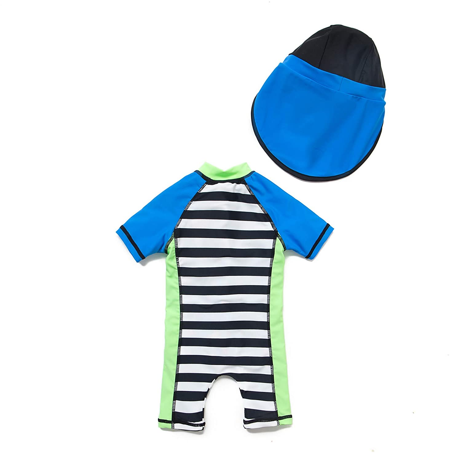 Baby Boys Sunsuit UPF 50 Blue,9-12Months Sun Protection All in One with Zipper Swimwear with Sun Hat