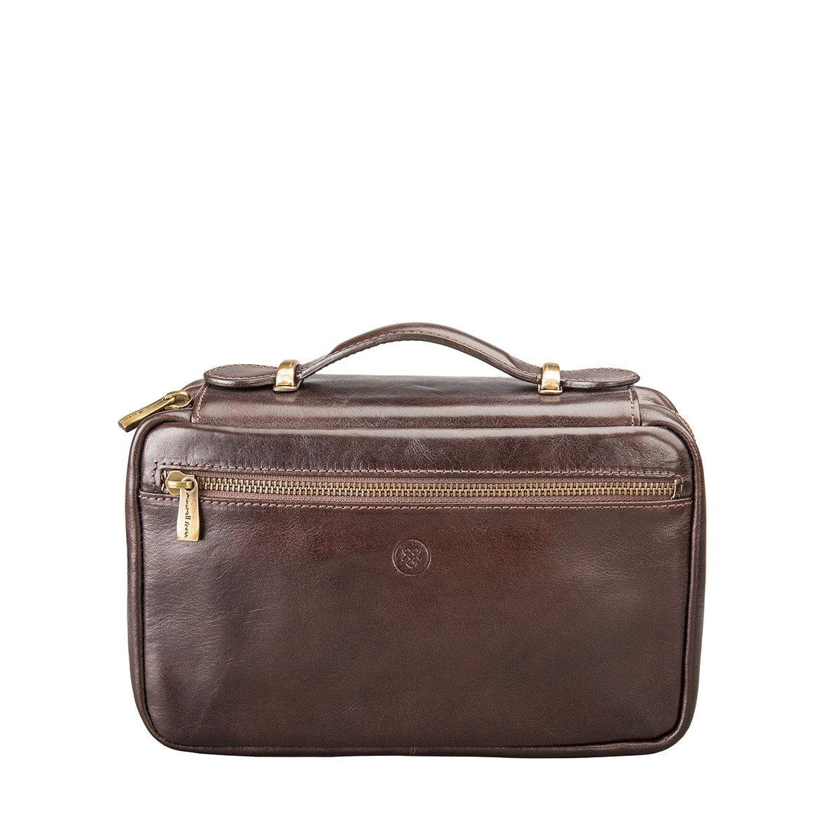 Maxwell Scott Personalized Luxury Brown Leather Makeup Case (The Cascina) - One Size