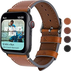 Fullmosa Compatible Apple Watch Bands 44mm 40mm,8 Colors Compatible with iWatch Series 6/SE Series 5 Series 4,44mm Light Brown+Smoky Grey Buckle