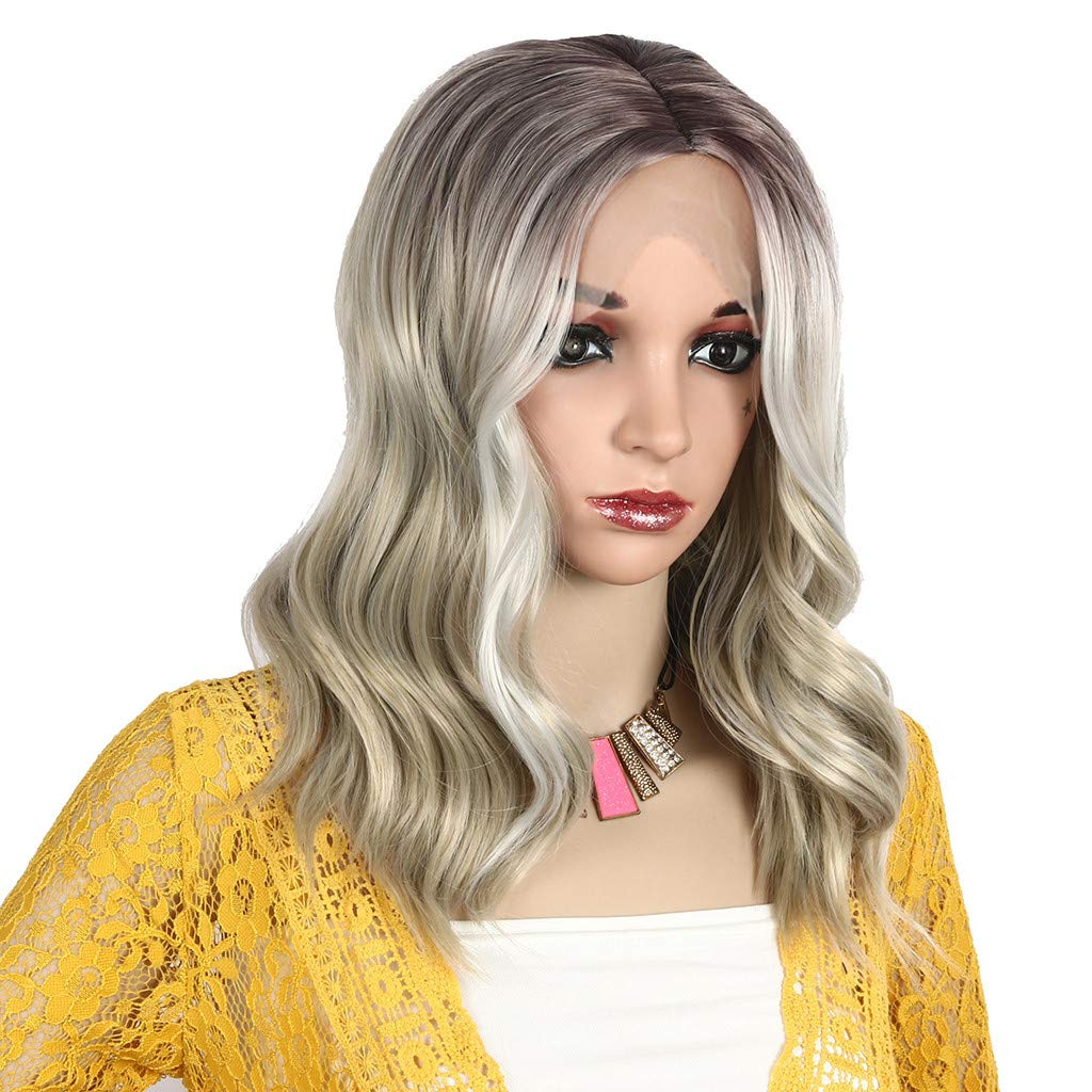 Hot Sale! Blonde Wigs,Women Fashion Gold Synthetic Hair Extension Long Wave Curly Wig Hairpiece (A) by Leewos-Wig (Image #3)