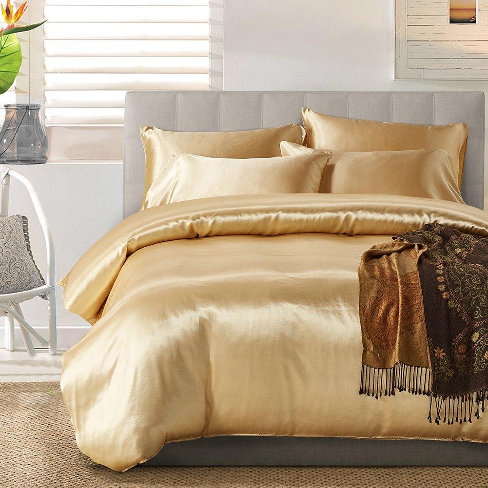 Yovoro Home Luxury Soft Satin Silky Reversible 4pcs Duvet Cover Set Bedding Set King Size Black