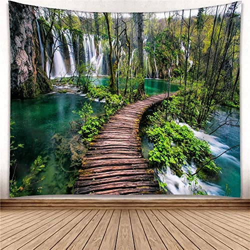 Green Rainforest Waterfall River Wooden Bridge Wall Hanging Tapestry Decor Living Room Bedroom for Home Decoration Tapestries Blanket Inhouse by Printed in 59×110 Inches for Wall Hanging Tapestry