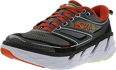 HOKA ONE ONE Men's Conquest 3 Road Running Shoe,Grey/Orange Flash,US