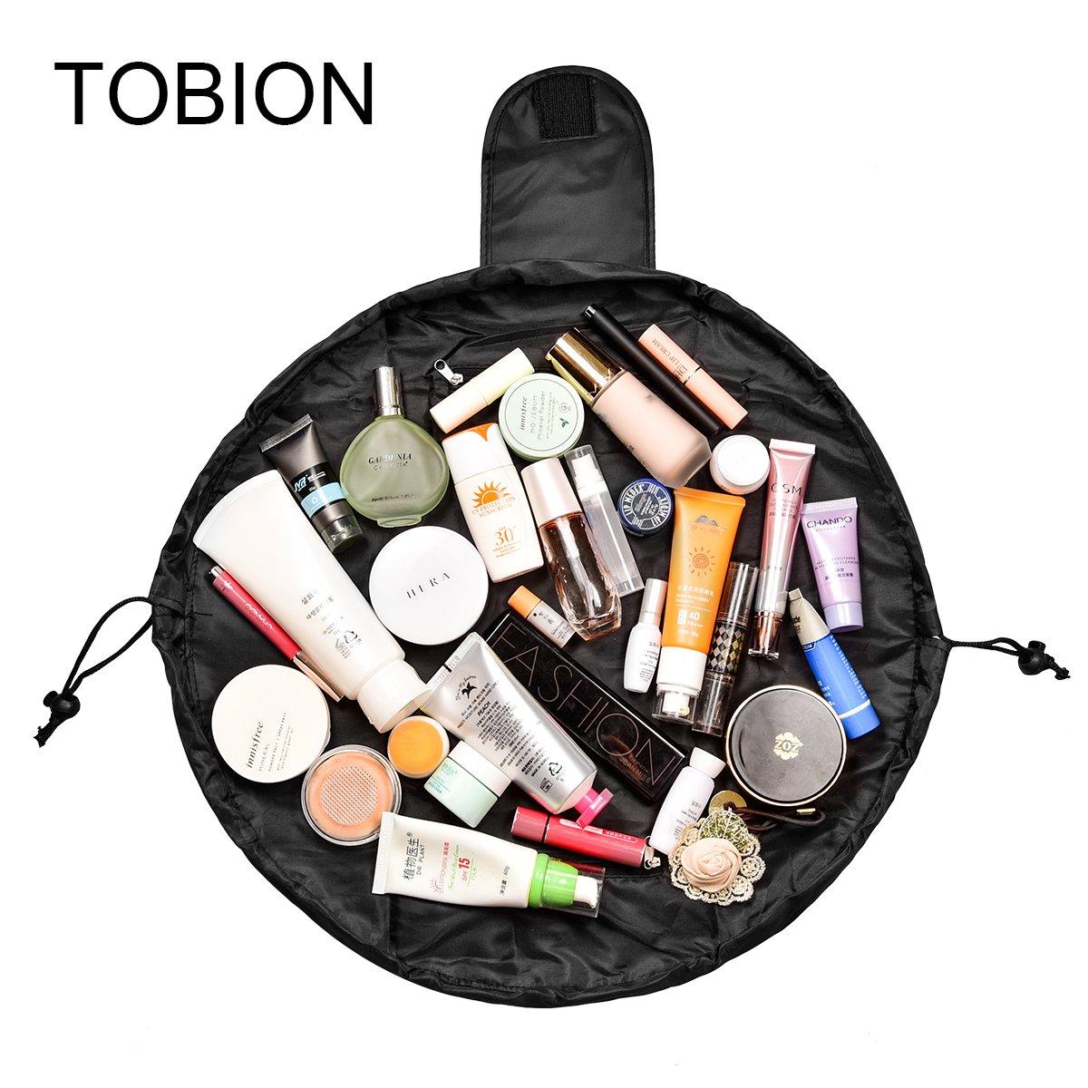 Lazy Portable Makeup Bag Large Capacity Waterproof Drawstring Cosmetic Bag Travel Makeup Pouch Magic Toiletry Bag Storage Organizer for Women&Girls (Black)