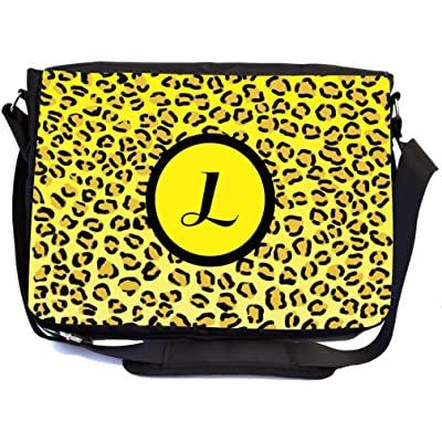 "Rikki Knight Letter ""L"" Yellow Leopard Print Monogrammed Design Multifunction Messenger Bag - School Bag - Laptop Bag - with padded insert for School or Work - includes Pencil Case"
