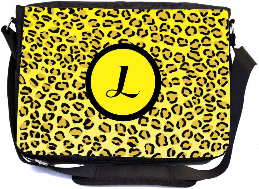 Rikki Knight LetterL Initial Yellow Leopard Print Monogrammed Design Messenger School Bag mbcp-cond2548