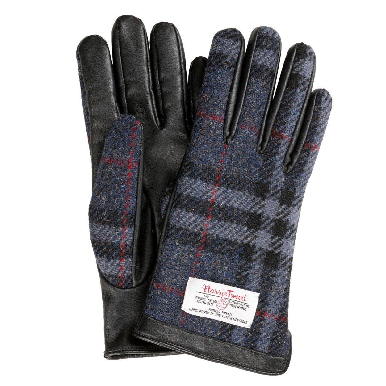 ハリスツイード Harris Tweed スマホ対応 手袋 メンズ レディース レザー B01MDLYQI7 M ネイビー/チェック ネイビー/チェック M