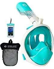 HELLOYEE Snorkel Mask GoPro Compatible Breathe Free for Adults and Kids, Snorkeling Mask Full Face Anti-Fog Anti-Leak Design with Waterproof Phone Pouch