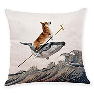 """Ihopes Aquadog The Corgi Rides a Whale Dog Pillow Covers, Pillow Case Cushion Cover for Sofa Couch Decor 18""""x 18""""Inch"""