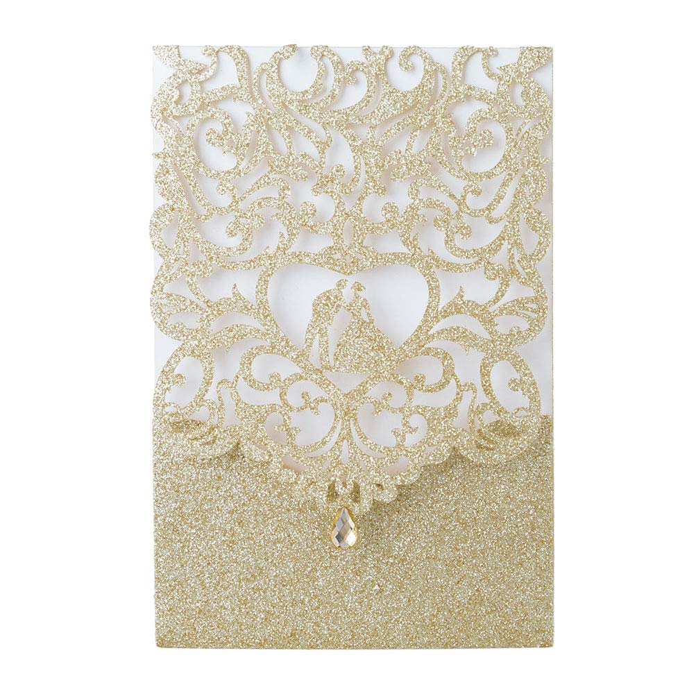 Laser Cut Wedding Invitations with Envelopes with Blank Printable Paper - 25pcs Gold Glitter 4.7'' x 7''Laser Cut Wedding Invitations Cards with Rhinestone Kits for Wedding Bridal Shower Engagement