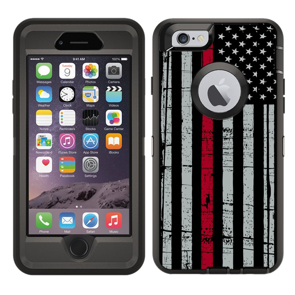 new styles 8f264 a1207 Protective Designer Vinyl Skin Decals/Stickers for OtterBox Defender iPhone  6 Plus / 6S Plus Case -Thin Red Line USA Fire Fighter Flag Design Patterns  ...