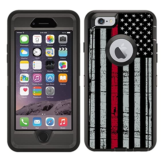 new styles a4900 279a8 Protective Designer Vinyl Skin Decals/Stickers for OtterBox Defender iPhone  6 Plus / 6S Plus Case -Thin Red Line USA Fire Fighter Flag Design Patterns  ...