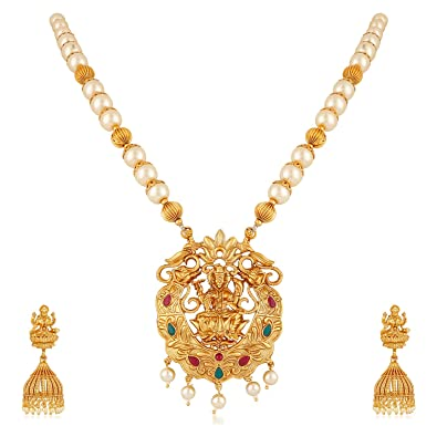 f1afb7cbad Meenaz Temple Jewellery Traditional One Gram Lakshmi Kundan Pearl Gold  Pendant Necklace Set/Jewellery Set