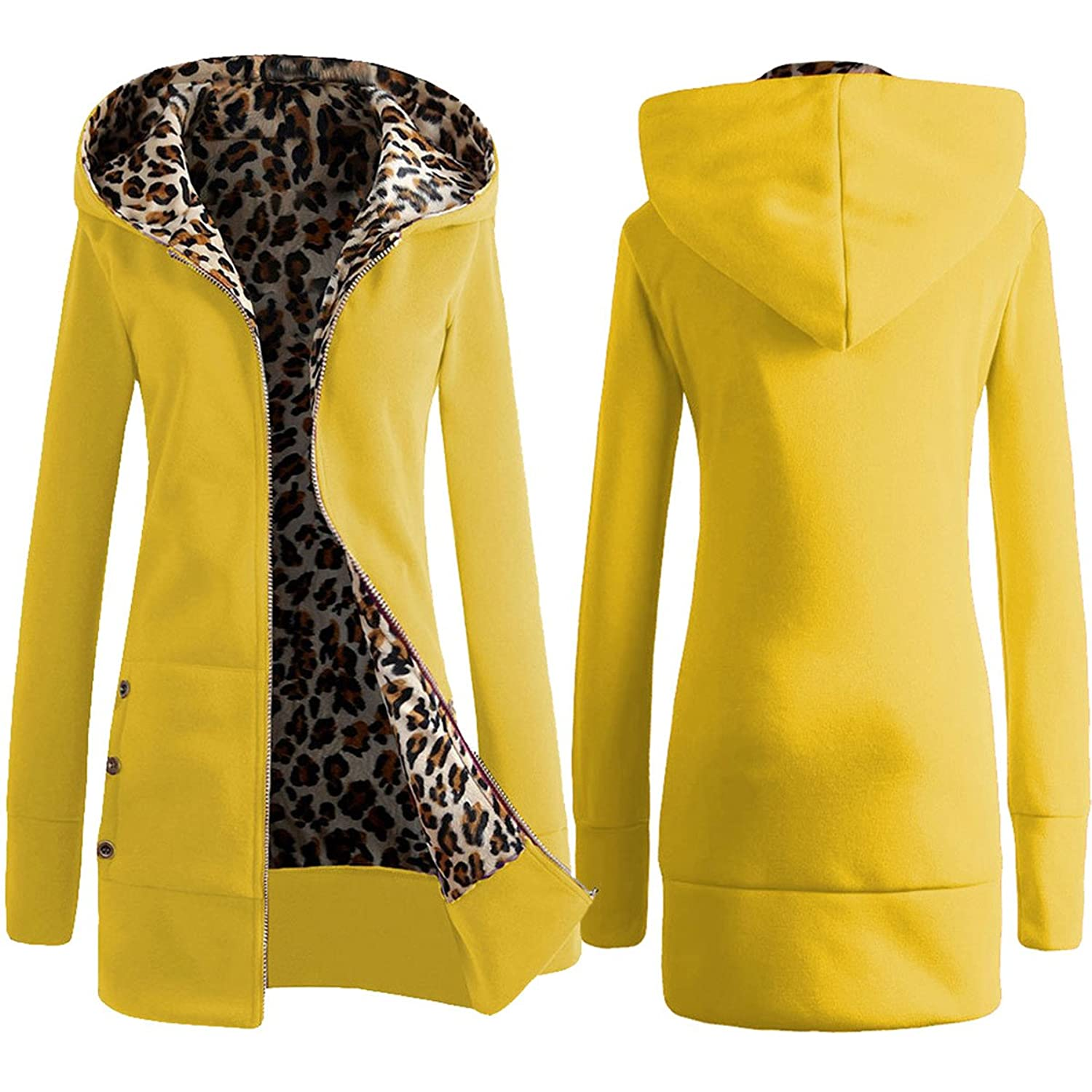 Allonly Women's Hooded Thickening Leopard Sweater Slim Jacket Coat