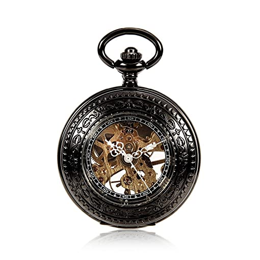 Mens Antique See Through Case Skeleton Mechanical Black Pocket Watch Men Clock With Chain Watches Reloj