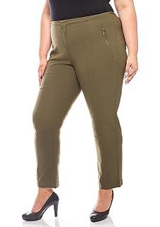 Sheego Damen Hose 7 8 Slacks mit goldenem Reißverschluss Große Größen  Khakigrün 5c322e772a